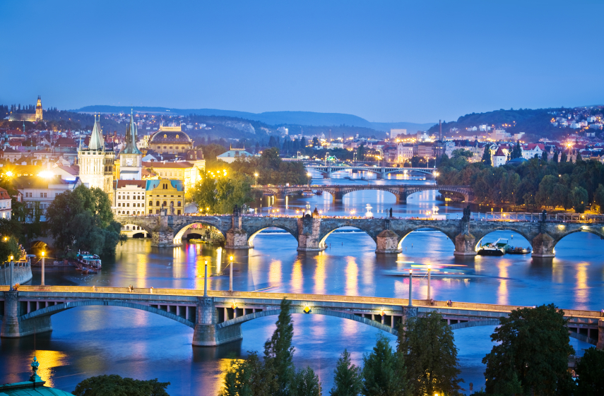 Prague River on European Holiday