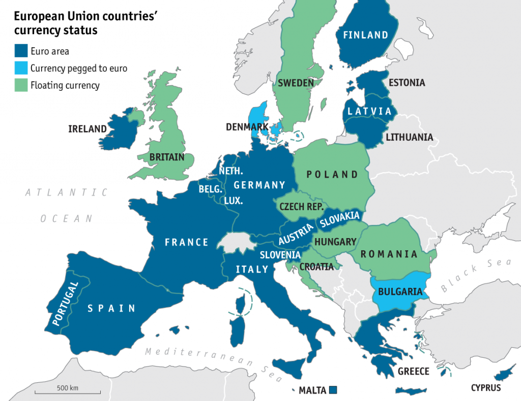 eurozone currency map