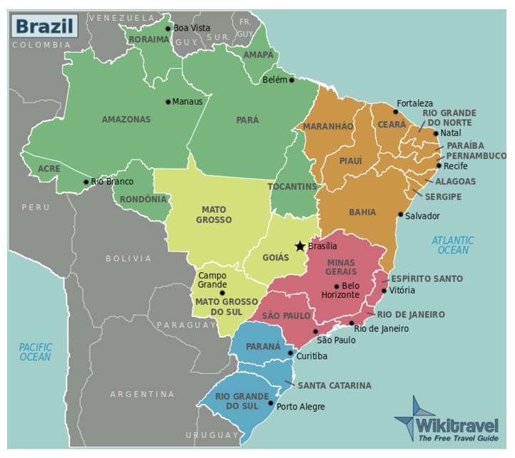 Map of Brazil and territories